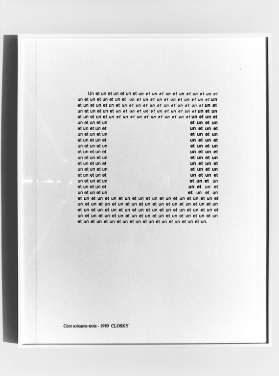 Claude Closky, 'Cent soixante-trois [one hundred and sixty-three]', 1989, laser print on paper, 29,7 x 21 cm.